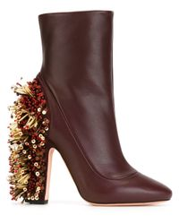 Rochas Brown Beaded Chunky Heel Boots