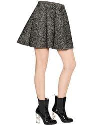 MSGM Gray Bonded Wool Herringbone & Neoprene Skirt