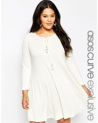 ASOS - Natural Curve Swing Dress With Eyelets And Lace Up Detail - Lyst