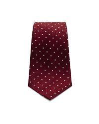 Turnbull & Asser - Red Silk Herringbone Spot Tie In Wine With White Spot for Men - Lyst
