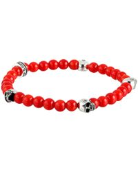 King Baby Studio - 6Mm Red Coral Bead Bracelet W/ 4 Skulls - Lyst