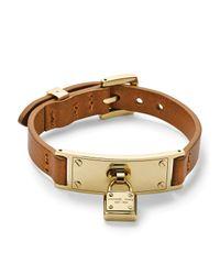 Michael Kors | Brown Leather Padlock Wrap Bracelet | Lyst