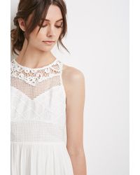 Forever 21 - White Embroidered Crepe Combo Dress - Lyst