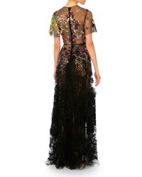 Valentino - Multicolor Floral Short-sleeve Tulle Gown - Lyst