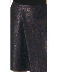 3.1 Phillip Lim Black Metallic Jacquard Pleat Skirt - Mahogany Multi