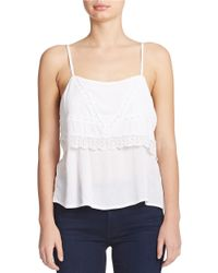 Guess White Cold Shoulder Lace Top