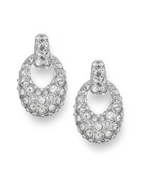 Swarovski | Metallic Rhodiumplated Rarely Clear Crystal Pave Drop Earrings | Lyst