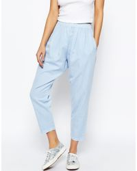 ASOS Blue Washed Casual Tapered Peg Trousers