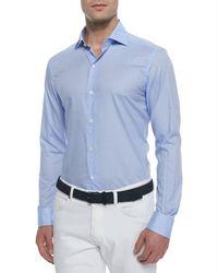 Ermenegildo Zegna | Blue Woven Solid Sport Shirt for Men | Lyst