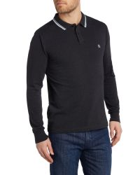 Original Penguin - Gray Long Sleeve Duo Polo Shirt for Men - Lyst