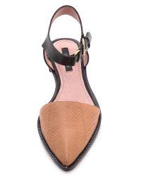 Rachel Zoe Black Iris Ankle Strap Flats - Rose
