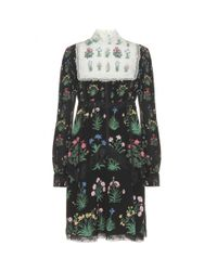 Valentino Multicolor Lace-Trimmed Silk Chiffon Dress