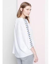 Violeta by Mango White Embroidered Blouse