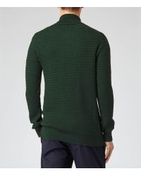 Reiss Green Melville Shawl Collar Jumper for men