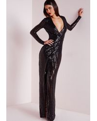 Missguided - Premium Sequin Stripe Wrap Maxi Dress Black - Lyst