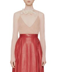 Gucci - Pink Net Tulle Top With Floral Brooch - Lyst