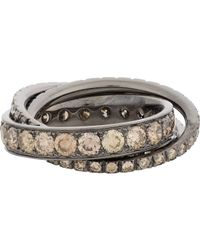 Roberto Marroni - Metallic Brown Diamond, White Diamond & Oxidized White Gold Triple Ring Size 6 - Lyst