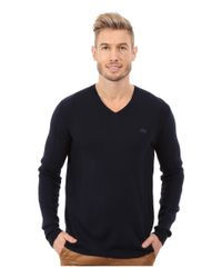 Lacoste - Blue Mixed Stretch Wool Rib V-neck Sweater for Men - Lyst