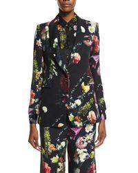 Adam Lippes - Black Floral-print Twill Jacket - Lyst