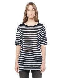 Alexander Wang | Black Stripe Rayon Short Sleeve Tee | Lyst