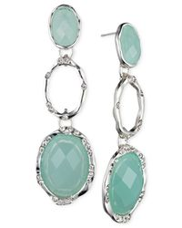 Jones New York | Blue Silver-Tone Oval Stone Triple Drop Earrings | Lyst