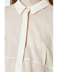 French Connection - Natural Polly Plains Collared Top - Lyst