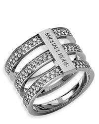 Michael Kors | Metallic Pavé Tri Stack Ring | Lyst