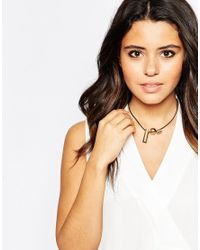 ASOS | Black Abstract Geo Bead & Bar Cord Necklace | Lyst