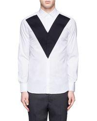 Neil Barrett | White Textured V-panel Cotton Shirt for Men | Lyst
