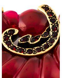 Oscar de la Renta Red Scalloped Swirl Clip-On Earrings