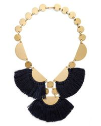 Tory Burch - Blue 'fringe Disc' Statement Necklace - Lyst