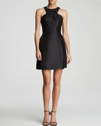 ML Monique Lhuillier Black Dress Sleeveless High Neck Embellished Fit and Flare