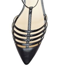 Ivanka Trump Black Toey Leather Cage Sandals