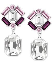 Swarovski | Metallic Silver-tone Purple Crystal Drop Earrings | Lyst
