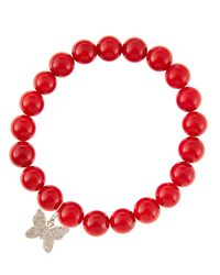 Sydney Evan | 8Mm Red Coral Beaded Bracelet With 14K Gold/Diamond Small Butterfly Charm (Made To Order) | Lyst