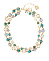 Anne Klein | Blue Beaded Gem Collar Necklace | Lyst