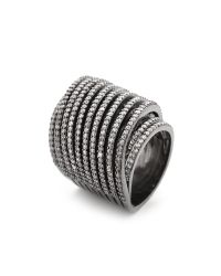 Noir Jewelry - Crystal Spiral Ring - Black/Clear - Lyst