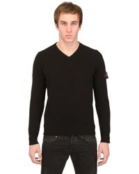 Stone Island Black Raw Cotton Tricot V- Neck Sweater for men