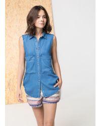 Mango - Blue Medium Tencel Shirt - Lyst