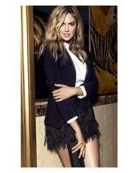 Express Black Ostrich Feather Fringe Mini Skirt
