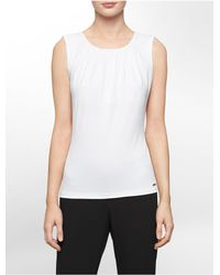 Calvin Klein | White Label Pleated Scoopneck Sleeveless Top | Lyst