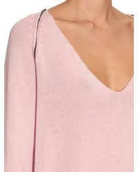 Marni Purple Contrasting-stitch Cashmere Sweater