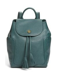 Tory Burch Green 'frances' Leather Flap Backpack