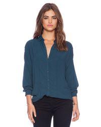 Bella Luxx Blue Oversized Seamed Button Up