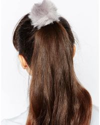 Pieces - Gray Veri Faux Fur Pom Hairband - Lyst