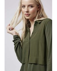 TOPSHOP - Green Hybrid Shirt-dress - Lyst