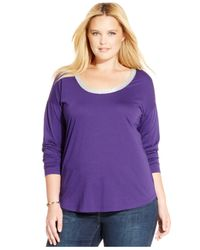 Michael Kors | Purple Michael Plus Size Metallic-trim Top | Lyst