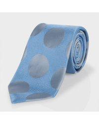 Paul Smith | Sky Blue And Grey Polka Dot Classic Silk Tie for Men | Lyst