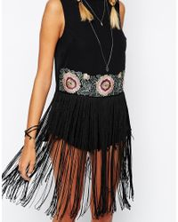 ASOS | Black Shell Top With Embroidered Hem And Long Fringing | Lyst