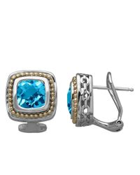 Lord & Taylor | 14k Yellow Gold Sterling Silver And Blue Topaz Earrings | Lyst